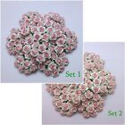 100 2-Colors White Pink Mulberry Paper 22 mm Roses Wedding Floral Flowers Craft