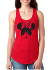 Women's minnie mouse head bow Glitter Disney castle Vacation Tank Top shirt