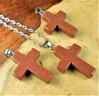 Cross Necklace Petite Red Goldstone Pendant V60 Polished Colored Glass Charms