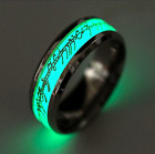 Mens Wedding Silver Glow In The Dark Stainless Steel Luminous Band Ring Size6-12
