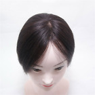 Mono Clip-in   Remy Human Hair Topper Toupee Hairpiece Top Wig For Women