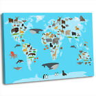 Animal Map of the World for Children Kids Bedroom Framed Canvas Art Print