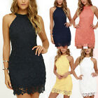 Women's Lace Floral Bodycon Summer Sleeveless Cocktail Evening Party Mini Dress