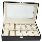 Large 12 Slots PU Leather Watch Box Display Jewelry Case Organizer Holder-HOT