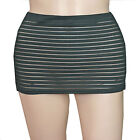 LADIES WOMEN GIRLS BLACK STRIPE  12 INCH FITTED MICRO MINI SKIRT SIZE 6 TO 20