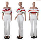 Sexy Women 2 Pieces Off Shoulder Ruffle Tops+ Bell Bottom Flared Trousers Pants