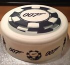 007 James Bond Casino Edible Icing Round Topper or Ribbon for Birthday Cake £9.0 GBP