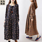 Women Autumn Floral Flower Long Sleeve Cotton Soft Loose Full Length Long Dress