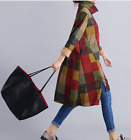 Women Autumn Floral Check Long Sleeve Cotton Soft Loose Cardigan Knee High Dress