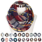 ScarvesMe Checker Plaid Pattern Infinity Loop Scarf with Fringe Trim