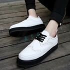 Men's Classic Lace Up Brogue Carved Oxfords Platform Creepers Shoes Black White