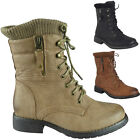 New Womens Ladies Low Heel Lace Up Zip Sock Collar Army Combat Boots Shoes Size