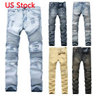 light jeans - Men's Skinny Ripped Destroyed Distressed Jeans Plain Stretchy Tapered Leg Pants