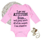 I Get My Attitude Baby Clothes Pink Jumpsuit Funny Clothes Longsleeve Bodysuit