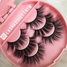Внешний вид - Glam MINK Lashes 3D Eyelashes 3 Pair / Silk Lashes Make Up Fur US SELLER