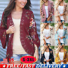 Plus Size Women Kimono Floral Cardigan Flared Sleeve Beach Cover Up Jacket Coats