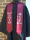 PHI SIGMA RHO Greek Letter Embroidered Maroon or Grey Graduation Stole/Sash