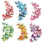 12Pcs Mix Sizes 3D Butterfly Wall Stickers Door Decor Art Decal Colors Kids Room