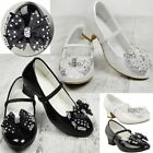 Girls Babies Childrens Wedding Party Sandals Low Heel Diamante Bow Shoes Size