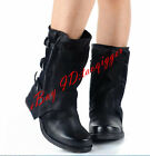 Womens Mid Calf Boot Gothic Buckle Leather Retro Motorcycle Riding Shoes Pull On