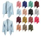 FashionOutfit Women's Solid Lightweight Open Front Shirring Sleeve Blazer