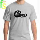 New CHICAGO Band Classic Logo Concert Tour Men's Grey T-Shirt Size S to 3XL image