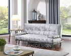 Crushed Velvet Fabric Sofa Bed 3 Seater Sofabed Black or Silver with Chrome Legs