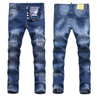 New Mens Italy Style Vintage Scratches Slim Fit Pants Blue JEANS Trousers D1496T