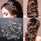 Head Band Hair Vine Crystal Headpiece Bridal Pearl Silver Handmade Wedding Party