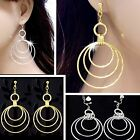 #E989H Pair 8cm Long CLIP ON EARRINGS Glitzy Twisted Round Big HOOPS Dangle