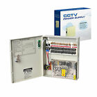 PROFESSIONAL 12V DC 5A 9 CH & DC 10A 18 CH CCTV BOXED FUSED POWER SUPPLY UNIT UK