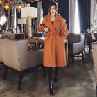 HQT Womens Chic lapel wool Basic Jacket belt korean winter warm puff sleeve Coat