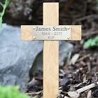 """12"""" Tall Wooden Memorial Cross Engraved Plaque Grave Ashes Cremation Marker pet"""