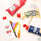 Creative Waterproof Leather Soft Zipper Pencil Case Makeup Bag Pen School Pouch
