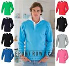 Front Row Mens Plain Long Sleeve Classic Rugby Polo Shirt Jersey