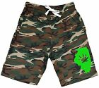 Men's Illinois Weed Leaf Map Fleece Camo Shorts Sweatpant State Kush Blunt V349