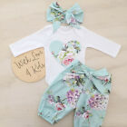Newborn Kid Baby Girl Floral Clothes Jumpsuit Romper Bodysuit Pants Outfit Set G
