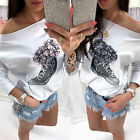 2017 Fashion Sexy flower sports shoes printed  long sleeves blouse t shirt