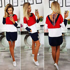 Three color stitching round neck tie back to the back pocket long sleevesskirt