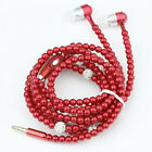 Pearl Necklace Universal 3.5mm Stereo Earphone headset For iPhone Samsung PC MP3