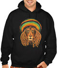 Men's Jamaican Beanie Lion  Black Hoodie Reggae Rasta Rave Party Weed Blunt EDM