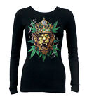 Junior's King Of Weed Lion Black Long Sleeve T Shirt Rasta Reggae Kush Blunt 420