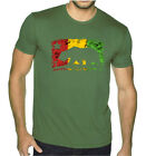 Men's Rasta Cali Bear Flag Military Green T Shirt Reggae Weed Blunt California