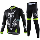 Men Cycling Bicycle Riding Long Sleeve Sport Suit Set Kim Jersey Pants CL19