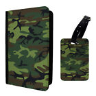 Army Camo Camoflage Dark Green Luggage Tag & Passport Holder - G1258