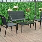 4Pcs Outdoor Patio Furniture Set Relax Glass Top Coffee Table Tea Loveseat Chair