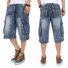 Mens Shorts Jeans Cargo Shorts Denim Relaxed Fit Work Baggy