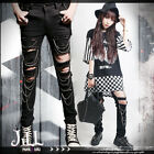 punk visual heavy rock cut-out distressed skinny pants w/ silver chains【J1E430】