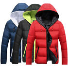 Men Winter Warm Cotton Padded Down Coat Hooded Thick Outerwear Parka Jacket