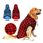 Large Dog Plaid Shirt Coat Removable Hoodie Pet Winter Clothes Warm Soft Sweater